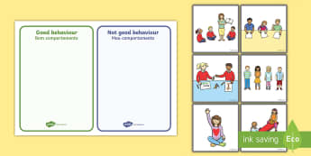 Classroom Behaviour Sorting and Discussion Cards English/Portuguese - Classroom Behaviour Sorting and Discussion Cards - classroom behaviour, sorting, discussion, cards,
