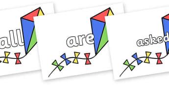 Tricky Words on Kites - Tricky words, DfES Letters and Sounds, Letters and sounds, display, words