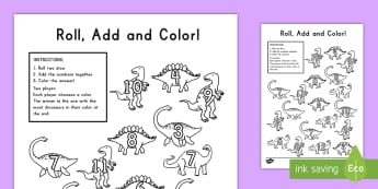 Dinosaur Color and Roll Activity Sheet - dinosaur, dice, roll, activity, color, game, creativity worksheet