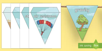Forces Display Bunting - forces, display bunting, display, bunting, force, gravity, push, pull, resistance