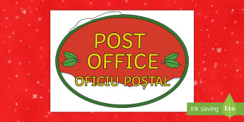 Christmas Post Office Display Sign English/Romanian - Christmas Post Office Sign - display, festivities, displays, chritmas, EAL