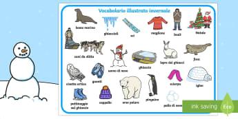 Vocabolario Illustrato Invernale - vocabolario, illustrato, inverno, invernale, freddo, ghiaccio, bilingue