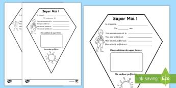 Feuille d'activités super-héros : Tout savoir sur moi - rentrée, tout savoir, écriture, cycle 1, cycle 2