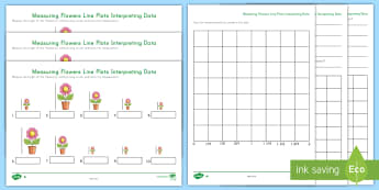 Measuring Flowers Line Plots Interpreting Data Differentiated Activity Sheets - measurement, data, line plots, fourth grade, fifth grade, graphing