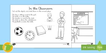 Ficha de actividad: Las preposiciones de lugar en el aula - Inglés - Prepositions Of Place, Activity Sheet, Follow The Instructions, Sigue Las Instrucciones, Preposicion