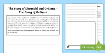 The Story of Diarmuid and Gráinne The Diary of Gráinne Activity Sheet - Myths, Legends, Irish Tales, Celtic, The Fianna,Irish, worksheet