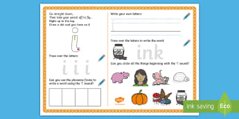 UAE EY 'i' Sound Activity Mat - Letters and Sounds, grapheme, phoneme, satpin, letter formation, handwriting, EYFS, Development matt