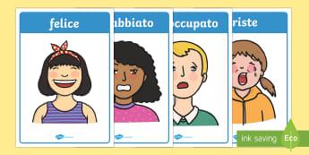 Emozioni ed Espressioni Posters - emozioni, espressioni, facciali, posters, felice, triste, A4, italian, italiano