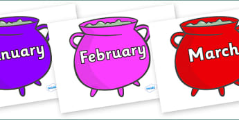 Months of the Year on Cauldrons (Multicolour) - Months of the Year, Months poster, Months display, display, poster, frieze, Months, month, January, February, March, April, May, June, July, August, September