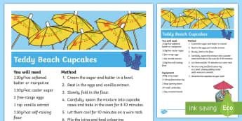 Teddy Beach Cupcakes Recipe  - The Seaside, summer, beach, sea, vanilla, cookie, wafer, cornet, ice cream cone, teddies