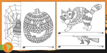 Halloween - Hojas de colorear - Halloween, mindfulness, colouring