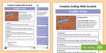 Graffiti Artist Scratch Activity Sheet - worksheet, computing, programming, coding, algorithms, instructions, commands, Scratch