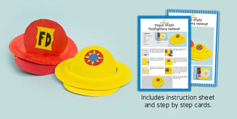 Paper Plate Firefighters Hat Craft Instructions - craft, paper