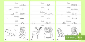British Sign Language (BSL) Animals Colouring Pages - colouring sheets, activities, fine motor skills, independent writing, learn sign language, bear, bir