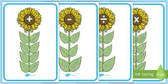 Maths Vocab Flowers - maths, vocabulary, flowers, vocab, addition, plus