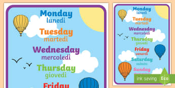 Days of the Week A4 Display Poster English/Italian - Days of the week, days, display, poster