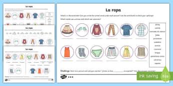 Spanish Clothes Activity Sheet