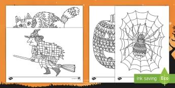 Halloween Themed Mindfulness Colouring Pages English/Afrikaans - October, Oktober, pumpkin, pampoen, celebration, EAL