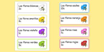 Etiquetas Las flores en el centro de jardinería - crecimiento, jardín, decoración, mural, temario, juego de rol, rincón, papel, vocabulario