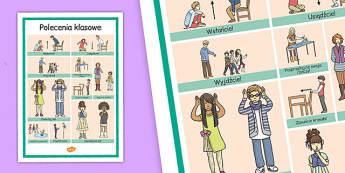 Plakat Polecenia szkolne po polsku - lekcja wychowawcza