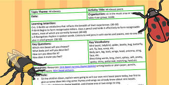 Minibeast Poem Sentences EYFS Adult Led Focus Activity - poems