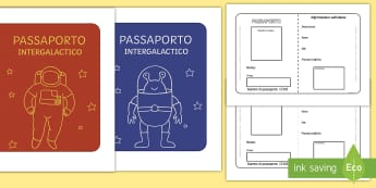 Il passaporto spaziale Attività - passaporto, scrivere, scrittura, esercizio, gioco, giocare, spazio, alieni, galassia, materiale, sco