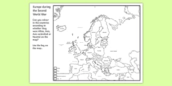 Second World War Colouring Map - world war two, ww2, world war II, world war 2 worksheet, world war 2 colouring worksheet, world war 2 allies axis or neautral