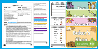 Race to the Shops Adult Input Plan and Resource Pack - Shopping, Physical Development, sweet shop, garden shop, bakers shop, toy shop,run, walk, skip, hop,