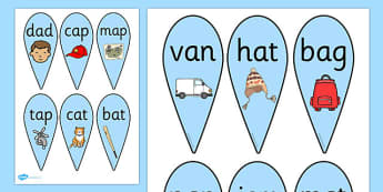 CVC Word Fans (A) - CVC, CVC word, fan, fans, three phoneme words, three sound words, consonant vowel consonant, words, three letter words, letters and sounds, DfES letters and sounds