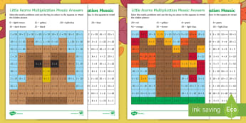Little Acorns Multiplication Maths Mosaics Activity Sheets - Twinkl fiction, originals, Little Acorns, maths, mosaics, KS1, multiplication, worksheets