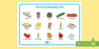 Tea Party Shopping List Word Mat - tea party, shopping list, shopping, list, word mat, visual aid