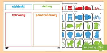 Karty do porządkowania Kolory - kolory, kolor, porządkowanie, sortowanie, karty, porządkuj, posortuj, kolorowe, niebieski, zielony