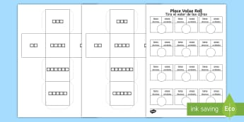 Place Value Roll Activity Dice Net and Activity Sheet English/Spanish - worksheet, Place Value Roll Activity Dice Net and Activity Sheet - numeracy, visual aid, dice, Place