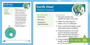 Earth Hour Hand Keepsake Craft Instructions-Australia - Earth Hour, art, keepsake, hand, earth, world,Australia, craft, clay, ornament, keepsake,
