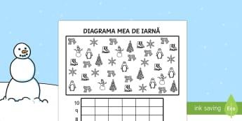 Diagrama mea de iarnă - iarna, anotimpuri, matematică, diagrame, diagrama, numerație, română, materiale, fișe.,Romanian