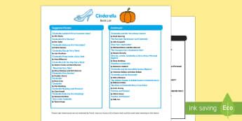 Cinderella Book List - EYFS Cinderella, fairy tales, wicked stepmother, fairy godmother, Disney Princess, glass slipper, Li