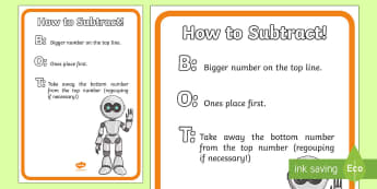 How to Subtract Display Poster - subtraction, calculation strategies, calculation reminders, visual prompts, acronyms