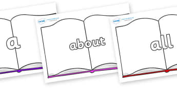 100 High Frequency Words on Books - High frequency words, hfw, DfES Letters and Sounds, Letters and Sounds, display words