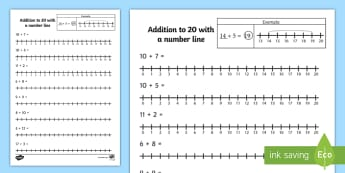 Addition to 20 with a Number Line Activity Sheet - number line, worksheet