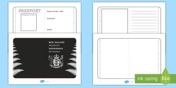 New Zealand Passport Template Activity - New Zealand Passport Template - passport, airline, NZ, new zealand, kiwi, tempelte, travel, holiday,