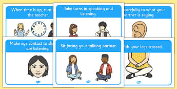 Talking Partner Display Posters - Good sitting, talking partners, partner, listen, behaviour management, SEN, good sitting, crossed legs, folder arms, hands up, quiet, good listening, good looking, lips closed, listening, brain box