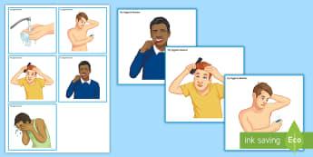 Hygiene Routine Board Information Cards - Hygiene, personal hygiene, life skills, washing, brushing hair