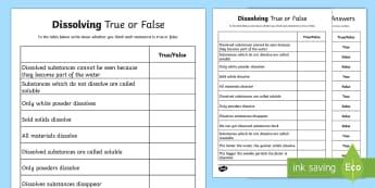Dissolving True or False Worksheet - dissolving substances, dissolving substances worksheet, dissolving substances true or false worksheet, ks2 science