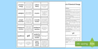 AQA The Rate and Extent of Chemical Change Loop Cards  - catalysts, collision theory, equilibrium, le chatelier's principle, reversible reactions, aqa, chem