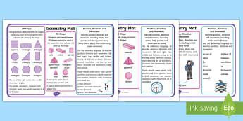 Year 1 Geometry Differentiated Maths Mats - square, triangle, circle, cube, turn, sphere, Cylinder, objectives, table mats, prompts