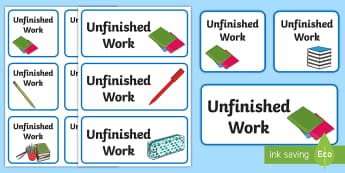 Unfinished Work Labels - tray label, box, to finish, basket, incomplete,