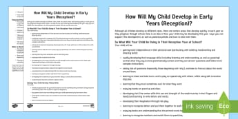 How Your Child Develops in Early Years Parent and Carer Information Sheet - early years, child development, parents, advice, support, reception, start of school, new school, ne