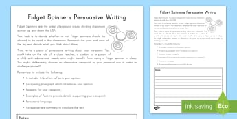 Grade 3-5, Fidget Spinners Persuasive Writing Activity Sheet - K3-5 persuasive writing, fidget spinners,