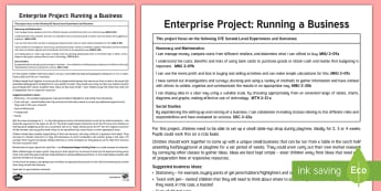 Enterprise Project - Running a Business Guide - Money, Budgeting, Loss, Profit, enterprising,Scottish