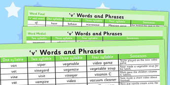 V Word List - v sound, v, sound, word list, word, list, words